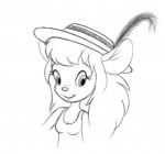 1girls feather gadget hat scope shirt sketch // 671x628 // 107.3KB