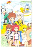 airplane chip clouds crossover dale donald_duck dress drink glass goofy ice_cream invention jacket kairi kingdom_hearts kneeling manga1357 namine original palm pendant plants riku shirt sit skirt sora // 2550x3510 // 1.1MB