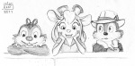 1girls 2boys chip dale gadget jialgri sketch smile // 600x297 // 99.0KB