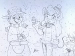 1boys 1girls alex_fox bird chip coat gadget hat mittens scarf sketch snow snowman winter // 1024x768 // 232.5KB
