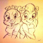 2girls clarice flower gadget goggles sketch нет_автора // 600x600 // 66.2KB