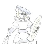 1girls angry armor gadget helmet martin_hamsy shield sketch sword // 1200x1200 // 422.5KB