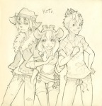 1girls 2boys arm-in-arm belt bracelet chip dale gadget human_like kate pants shorts sketch torn_clothes wrench // 986x1024 // 210.2KB