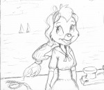 1girls cdrrunderground clouds sea ship sketch sky tammy unusual_dress water // 1567x1363 // 1.2MB