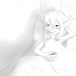 1girls bed blanket coffee cup gadget martin_hamsy pillow sketch // 1000x1000 // 245.6KB