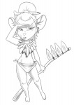 1girls alternative_hairstyle bone gadget hairband loincloth martin_hamsy ponytail scythe sketch // 855x1200 // 283.0KB