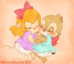 2girls arm-in-arm baby clarice closed_eye diaper dress gadget kurokuma824 ribbon // 640x555 // 26.9KB