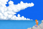 1girls clouds gadget rock scope sea sit sky // 968x675 // 463.0KB