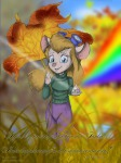 1girls alex_fox crystal gadget leaf pants plants pullover rainbow umbrella // 900x1200 // 738.1KB