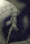 1girls alex_fox alternative_hairstyle belt gadget gun pants shirt shoes sketch tunnel // 650x950 // 132.7KB