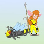 1girls gadget helmet hornet invention robot scope spear yellow_overall // 1000x1000 // 279.2KB