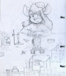 1girls alex_fox burner fire gadget hat lab_coat laboratory microscope sit sketch table test-tube // 700x800 // 159.2KB