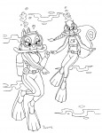 2girls aqualung bubbles clarice lineart sea shoxxe swimming swimsuit tammy underwater // 2552x3320 // 1.5MB