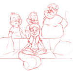 1girls 3boys chip dale darmann monterey_jack shirt sit sketch sofa tammy // 1133x1103 // 630.2KB