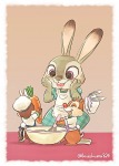 1girls 2boys apron carrot chef's_hat chip dale fun hat kurokuma824 original pot rabbit rabbit_ears tie // 734x1024 // 110.9KB