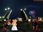 1girls 2boys back blush broken_heart chip closed_eye collage costume dale flower gadget gloves hat heart integrator kiss night photo rose wedding_dress // 1024x768 // 196.9KB