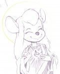 1girls akunim closed_eye gadget halo heart light robe sketch smile // 845x1039 // 321.7KB