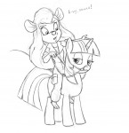 2girls crossover darmann gadget my_little_pony sit sketch twilight_sparkle // 939x969 // 350.9KB
