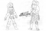 2girls assasin crossover dagger gadget gun hardsuit sally_acorn sketch sonic_the_hedgehog vytz // 1280x866 // 136.4KB