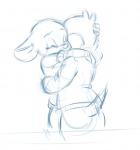 1boys 1girls back chip closed_eye darmann embrace gadget sketch tears // 1103x1181 // 484.3KB