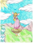1girls closed_eye clouds crown dress earring flying gadget gloves guukan-mangaka pendant pink_dress shoes sky // 2550x3300 // 1.8MB