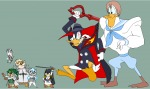 alternative_hairstyle angry animated_gif chip cosplay crossover dale darkwing_duck darkwing_duck_(series) fight gadget kill_la_kill launchpad_mcquack monterey_jack short_hair spikes sword tyrranux uniform zipper // 980x586 // 67.9KB