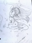 1girls alex_fox gadget kneeling leaf sit sketch tears wind // 758x1000 // 222.2KB