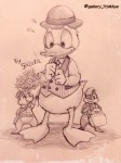 3boys bag bucket cap chip closed_eye dale donald_duck flowers heart letter pullover ribbon shinta sketch // 768x1024 // 154.8KB
