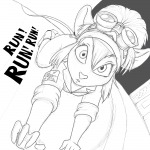all_four alternative_hairstyle gadget hairband martin_hamsy ponytail rr_sign run sketch // 1000x1000 // 190.1KB
