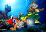 aqualung bubbles chip dale flashlight flippers mask munkart sea swimming underwater // 800x561 // 215.9KB