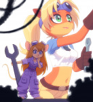 2girls coco_bandicoot crash_bandicoot crossover gadget gear gloves goggles kempferzero repair wrench // 829x906 // 443.2KB