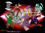 a_nightmare_on_elm_street alternative_hairstyle axe blood broom chip claws cosplay crossover dale death fang flying freddy_krueger gadget gloves halloween helmet hourglass monterey_jack pullover ribbon robe scythe shirt vampire witch_hat zipper джей // 800x600 // 82.3KB