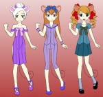 3girls alternative_hairstyle bracelet cosplay crossover dress gadget miss_bianca olivia_flaversham pants ponytail ribbon shoes skirt socks the_great_mouse_detective the_rescuers the_rescuers_down_under tokyo_mew_mew twintails uberxmomo // 537x508 // 131.1KB