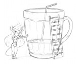 1girls beer cup darmann drink drunk gadget ladder sketch // 990x841 // 349.3KB