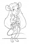 1girls bag darmann gadget gloves lineart pants shirt // 739x1150 // 203.4KB