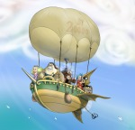 balloon binoculars bird boat chip clouds cosplay crossover cutty_flam dale flying gadget iceburg in_air kokoro monterey_jack one_piece sky tom_(one_piece) yokozuna young zipper нет_автора // 2601x2500 // 2.1MB