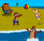 beach beach_ball chip closed_eye dale flying fun gadget game jump m.a. monterey_jack sand sea shorts sit sunbed swimming_shorts swimsuit water zipper // 1276x1192 // 565.7KB
